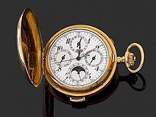 ANONYME DEBUT XXÈME Montre de poche savonnette en or jaune avec chronographe monopoussoir, triple quantième, phases de lune et répét...