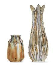 Langlade. Suite de deux vases en grès émaillé.