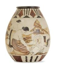 CIBOURE. Grand vase bursiforme en grès, circa 1930