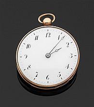 ANONYME VERS 1830 Montre de poche en or rose. Cadran émail blanc (fêle) avec index chiffres arabes Breguet peints et aiguilles Bregu...