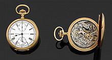 PATEK PHILIPPE CHRONOGRAPHE MONOPOUSSOIR, VERS 1905 Montre de poche en or jaune. Cadran émail blanc avec index chiffres romains pein...