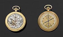 LONGINES CHRONOGRAPHE MONOPOUSSOIR Montre de poche en or avec boîtier rond godronné. Cadran doré avec index chiffres arabes peints, ...
