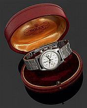 ROLEX CHRONOGRAPHE Réf. 3481 ANNéES 40 Montre bracelet mid-size en acier avec chronographe. Cadran argenté avec index chiffres arabe...