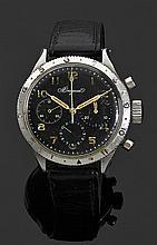 BREGUET TYPE XX VENDUE LE 16 SEPTEMBRE 1955 à Mr. TELMON Montre bracelet en acier avec chronographe et fonction retour en vol. Cadra...