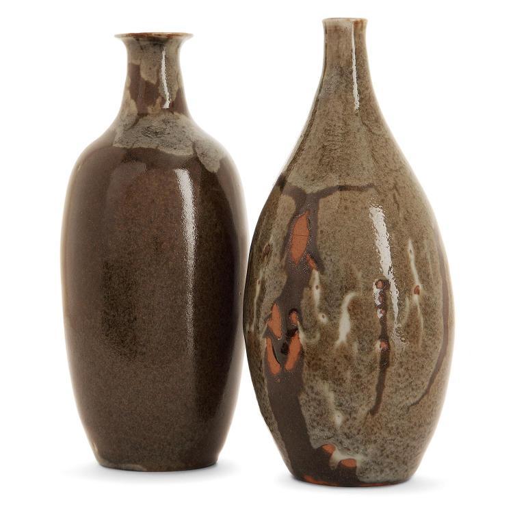 AUGUSTE DELAHERCHE (1857-1940) A set of two stoneware vases, c