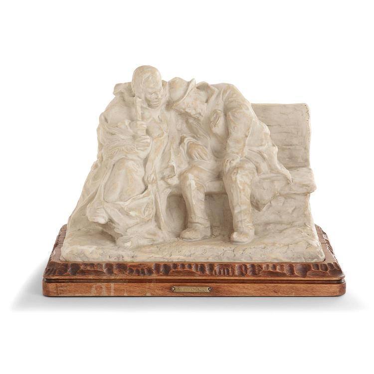 """GRÈS MOUGIN NANCY - ERNEST WITTMANN (1846-1921) """"Les vieux sur le banc"""" A stoneware sculpture, created in 1912, wooden base"""