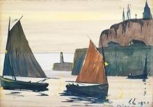 LUCIEN LEVY-DHURMER (1865-1953)VOILIERS PRES DU PORT
