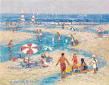 JOHN TERELAK (NÉ EN 1942) LA PLAGE Huile sur toile Signée en bas à gauche 41 X 50cm
