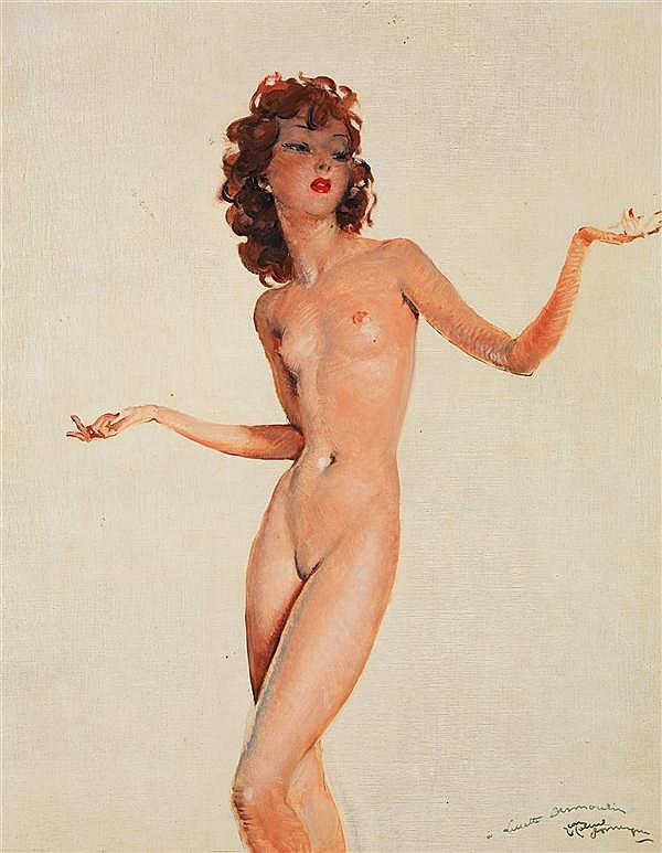 Jean-Gabriel DOMERGUE (1889-1962) Nu de Lucette Desmoulin Huile sur toile Signée et dédicacée en bas à droite 92 x 75cm
