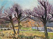 Marie Howet (1887-1984) Paysage de campagne Huile sur toile Signée en bas à gauche 80 x 60,5cm