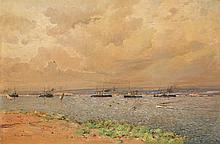 Eugène Deshayes (1865-1954) Paysage maritime Huile sur toile Signée en bas à gauche 48,5 x 73cm