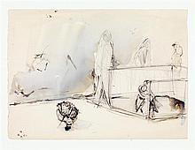 JEAN HÉLION (1904-1987) Au jardin, 1967 Aquarelle et encre sur papier Signée et datée