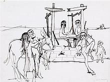 JEAN JANSEM (1920-2013) La famille Encre sur papier Signée en bas à droite 24 x 32cm