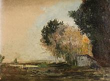Edmond Marie Petitjean (1844-1925) Les arbres proches de l'étang Huile sur carton Porte le cachet de la vente de l'atelier Petitjean...