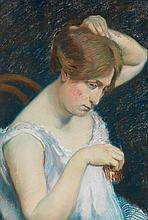 Georges-Daniel DE MONFREID (1856-1929) Femme à la barrette Pastel sur papier Monogrammé «G