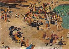 André Devambez (1867-1943) Scène de plage Huile sur panneau Signé en bas à droite 10,5 x 15cm
