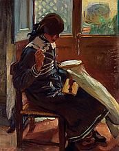 Ruggero Focardi (1864-1934) La couturière Huile sur toile Signée en bas à gauche 35,5 x 28,5cm