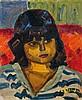 André Claudot Portrait de jeune fille Huile sur toile Signée en bas à droite 46 x 38cm