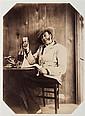 FÉlix-Jacques Moulin (Montreuil sur mer 1802-Paris 1875) Autoportrait levant son verre, ca 1855. Épreuve albuminée, négatif verre, m...