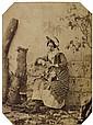 FÉlix-Jacques Moulin (Montreuil sur mer 1802-Paris 1875) Modèle au bouquet de fleurs, ca 1855. Épreuve albuminée, négatif verre, mon...