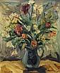 ANTONIO CORPORA (1909-2004) FLEURS DE TUNISIE FLOWERS OF TUNISIA Huile sur carton signée en bas à gauche. 46,5 x 38cm (18.3 x 15 in...