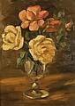 PIERRE BOUCHERLE (1894-1988) ROSES DE TUNISIE ROSES IN TUNISIA Huile sur carton signée en bas à droite. 42 x 32cm (16.5 x 13 in.)