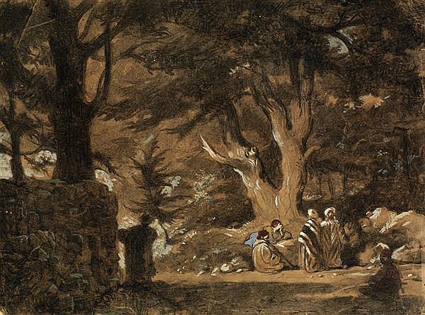 DANS LE GOÛT DE PROSPER MARILHAT (1811-1847) MONTAGNARDS FUMANT LE TCHIBOUK SOUS LES CÈDRES DU LIBAN MEN SMOKING THE TCHIBOUK UNDER ...
