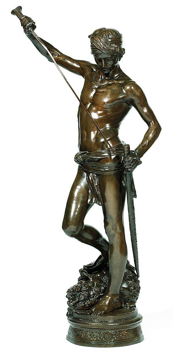 ANTONIN MERCIé (1845-1916) DAVID VAINQUEUR VICTORIOUS DAVID Épreuve en bronze à patine brune inscrite sur la terrasse. Fondeur Barbe...