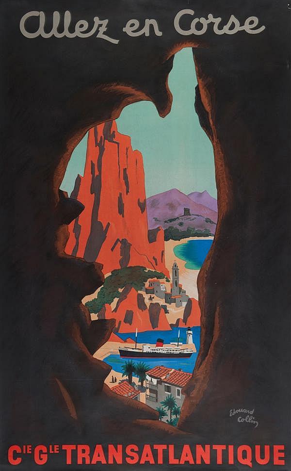 Edouard Collin Allez en Corse 100 x 61 cm, BE (petite déchirure)