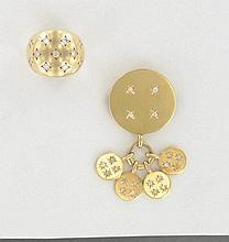 LOT comprenant :  une BAGUE DOME en or jaune uni 18K agrémentée de petits diamants (TA) en serti étoilé