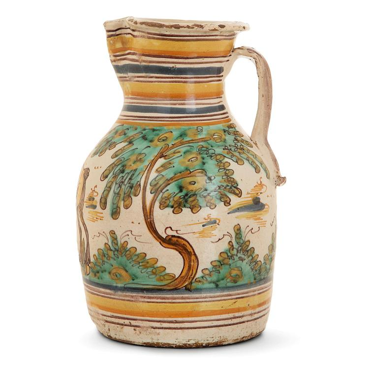 Talavera, 18th century, great earthenware jug with polychrome decor of a donkey. HAUT. 32 CM - HEIGHT. 13 3/4 IN.