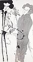 Walasse Ting (1929-2010) Sans titre, circa 1970 Lavis d'encre sur papier marouflé sur toile Signé au milieu à droite Ink wash on pap...