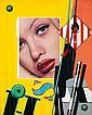 Peter Klasen (né en 1935)  Grand visage K12 Fond jaune, 2005 Acrylique et jet d'encre sur toile Signé, titré et daté au dos Acrylic ...