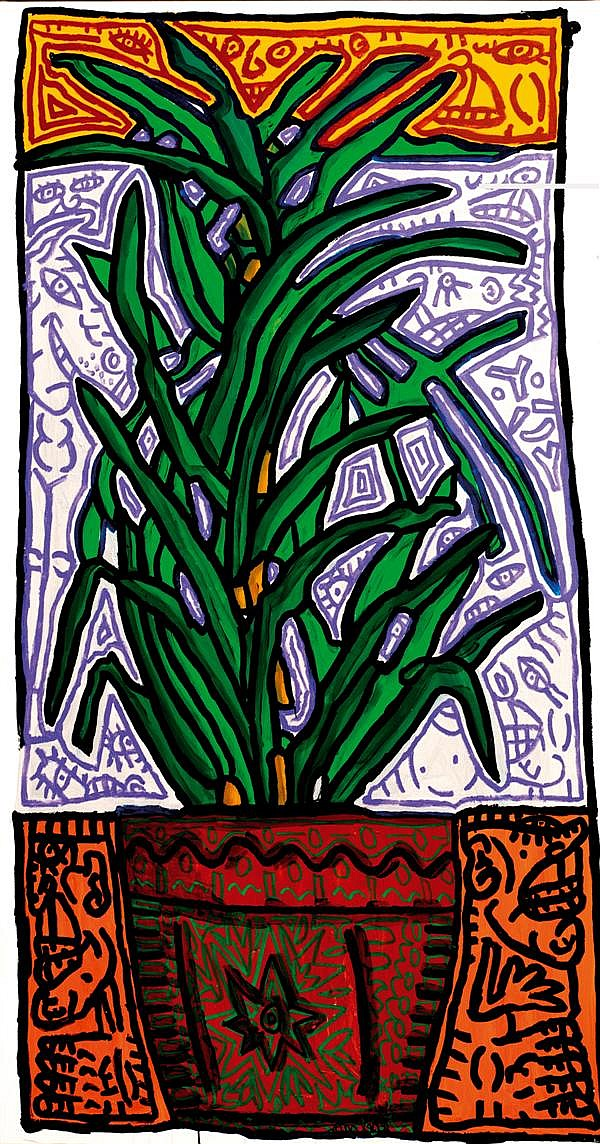 Robert Combas (né en 1957)  Plante à verte, noconvingtculs ou Plante verte en décoration combassienne, 2005 Acrylique sur toile Sign...