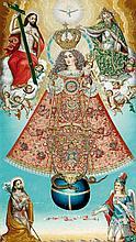Ecole BOLIVIENNE, 1843 La Vierge du Rosaire Sur sa toile d'origine 73,5 x 43 cm Inscription en bas sur un ruban: ADEBO/CIONDEMA/NUEL...