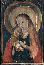 Attribué au Maître de la MADONE de BRUXELLES(Actif vers 1490 - 1520) Vierge à l'Enfant Jésus endormi Tüchlein (tempera sur toile de ...