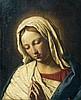 Giovanni Battista SALVI dit SASSOFERRATO (Sassoferrato 1605 - Rome 1685) Vierge en prière Toile 50,5 x 41 cm Soulèvements et restaur...