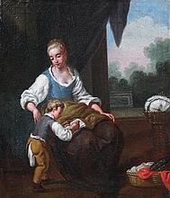 Antonio AMOROSI (Comunanza 1660 - Rome 1738) La Lecture Toile 39 x 34,5 cm Restaurations anciennes