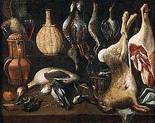 Attribué à Alejandro LOARTE (Vers 1590 / 1600 - 1626) Nature morte aux perdreaux rouges à la harde, au lapin et au gigot d'agneau su...