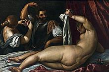 Attribué à Palma Il GIOVANE (1544 - 1628) Mars et Vénus Toile 101 x 150 cm Restaurations anciennes