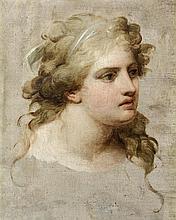 école romaine vers 1780 Tête de femme, esquisse Toile 53,5 x 43 cm Petites restaurations anciennes Sans cadre