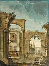 école italienne du XVIIIe siècle Caprice architecturale Toile 65 x 48 cm