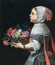 école HOLLANDAISE du XVIIe siècle, entourage d'Abraham van der TEMPEL Jeune fille portant une corbeille de fleurs Toile, fragment 61...