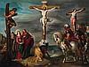 Attribué à Cornelis de baellieur (1607 - 1671) La Crucifixion Cuivre et rehauts d'or 50 x 64,5 cm Dans un cadre en noyer sculpté et ...