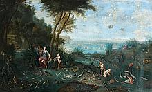 Attribué à Ferdinand Van KESSEL (Anvers 1648 - 1696) Allégorie de la mer Toile 60 x 98,5 cm Restaurations anciennes