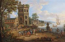 Mathys SCHOEVAERDTS (Bruxelles vers 1665 - après 1702) Commerçants orientaux dans un port méditerranéen Panneau de chêne, une planch...