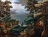 école de FRANKENTHAL vers 1600 Paysage animé de personnages Panneau de chêne, deux planches, renforcé 50 x 66,5 cm Restaurations anc...