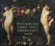 école FLAMANDE vers 1700, entourage de Gaspard VERBRUGGHEN Deux Putti encadrant une inscription avec une guirlande de fleurs et de f...