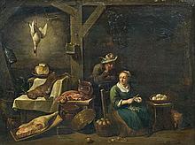 ƒécole FLAMANDE du XVIIIe siècle suiveur de Thomas APSHOVEN Préparation du repas dans la cuisine Panneau de chêne, une planche, non ...