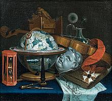 Attribué à Jean VALETTE-FALGORES dit PENOT (1710 - vers 1777) Nature morte au globe, au violon, à la sculpture, au sablier et au com...